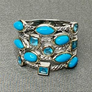 Sterling Silver Confetti Cable Turquoise Ring 8.5